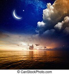 pôr do sol, mar, lua