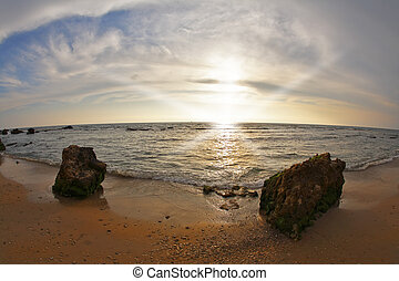 pôr do sol, mar mediterrâneo, costa