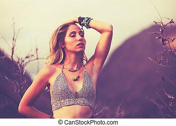 pôr do sol, mulher, moda