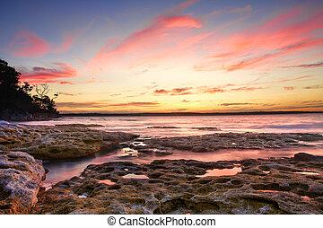 pôr do sol, murrays, praia, austrália