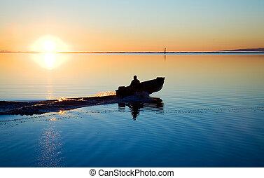 pôr do sol, noroeste, pacífico