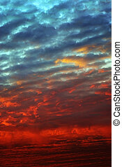 pôr do sol, nuvens