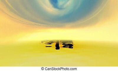 pôr do sol, nuvens, sobre, oceânicos