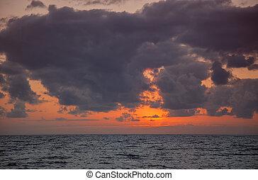 pôr do sol, oceânicos