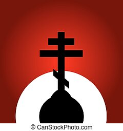 pôr do sol, ortodoxo, experiência., crucifixos