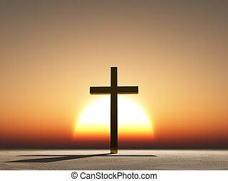 pôr do sol, ou, amanhecer, crucifixos