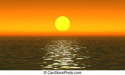 pôr do sol, ouro, oceânicos