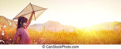 pôr do sol, papagaio, menina, campo, pequeno