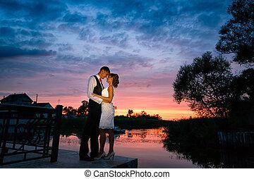 pôr do sol, par, casório, amor, tempo