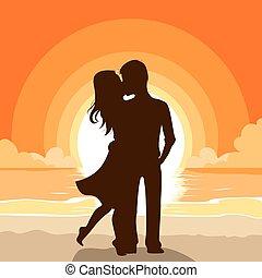 pôr do sol, par, praia, beijando