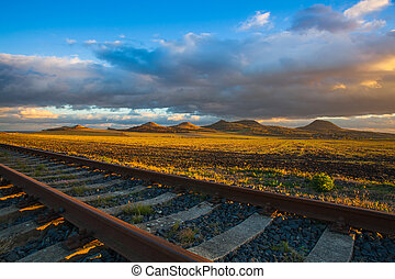 pôr do sol, pista, único, tcheco, republic., estrada ferro