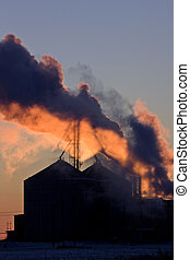 pôr do sol, poluição