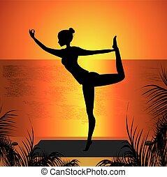 pôr do sol, prática, mulher, ioga, fundo