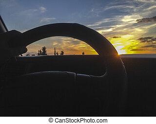 pôr do sol, rodovia, dirigindo