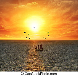 pôr do sol, sailing barco