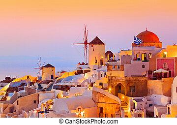 pôr do sol, santorini, (oia), -, grécia