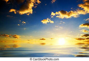 pôr do sol, sea., acima