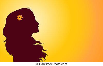 pôr do sol, silueta, de, mulher