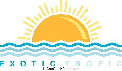 pôr do sol, simbólico, mar, onda