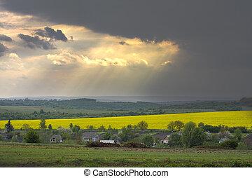 pôr do sol, sobre, a, violação, campo, em, ucrânia