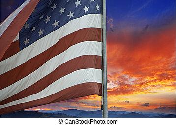 pôr do sol, sobre, bandeira americana