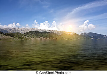 pôr do sol, sobre, montanhas
