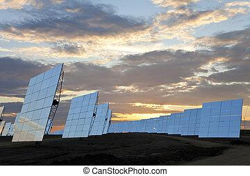 pôr do sol, solar, espelho, campo verde, painéis, energia
