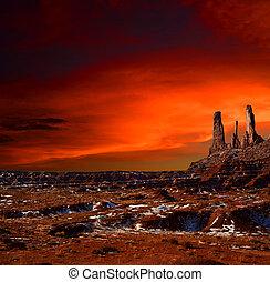 pôr do sol, vale monumento, arizona, navajo, nação