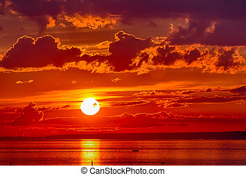 pôr do sol, vermelho