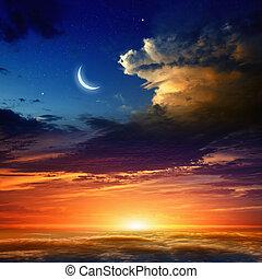 pôr do sol, vermelho, lua