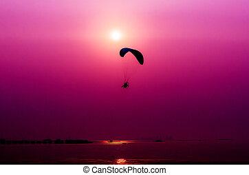 pôr do sol, voando, paramotor, fundo