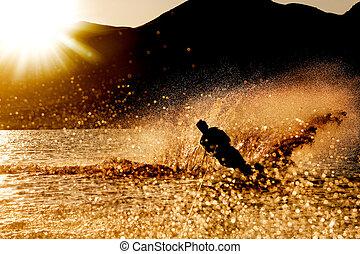pôr do sol, waterski