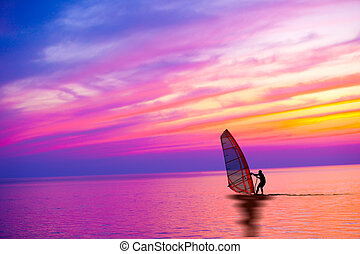 pôr do sol, windsurfing