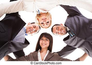 pôr, grupo, businesspeople, junto, cabeças