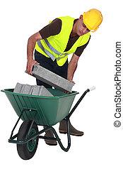 pôr, trabalhador, cinderblocks, carrinho de mão