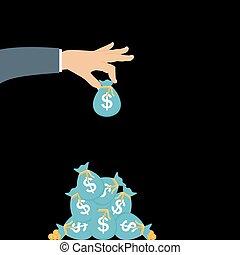 põe, moedas ouro, -, saco mão, vetorial, future., contribuição