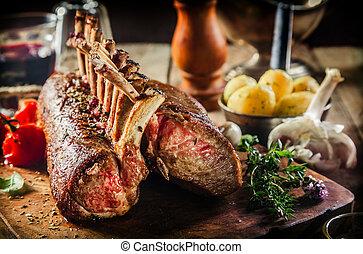 pörkölt, keret of bárány, noha, friss, alkatrészek