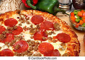 pølse, peperoni, pizza