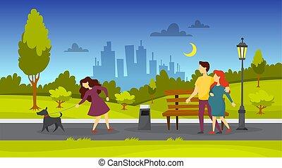 público, ambulante, park., perro, gente