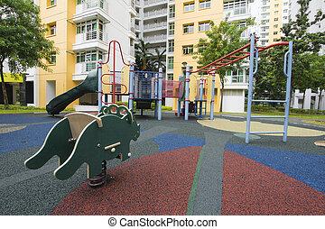 público, caja, singapur, patio de recreo, childrens