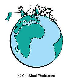 público, ilustración, -, protesta, paz