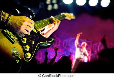 público, música viva, jugador, guitarra, plano de fondo