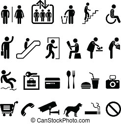 público, sinal, centro comercial, ícone