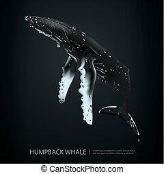 púpos ember bálnavadászat, alatt, a, tenger, vektor, ábra