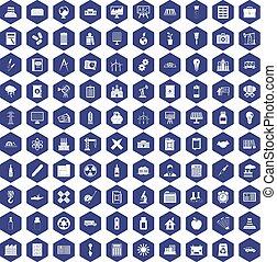 púrpura, 100, hexágono, compañía, iconos