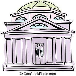 púrpura, abovedado, sinagoga, techo