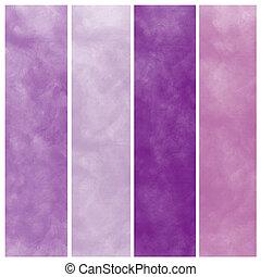 púrpura, acuarela, resumen, conjunto
