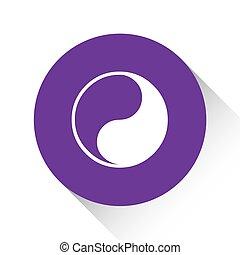 púrpura, -, aislado, yang, plano de fondo, blanco, ying, icono