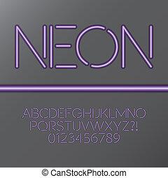 púrpura, alfabeto, tubo, neón, numbe