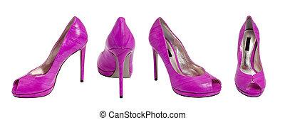 púrpura, alto, zapato, tacón, mujeres